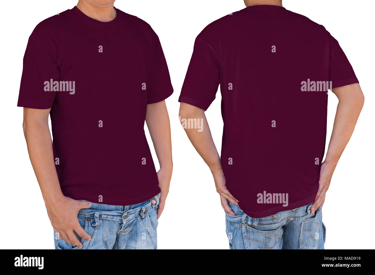 Man wearing blank dark red magenta color t-shirt with clipping path, front and back view. Template for insert logo, pattern, or artwork. - Stock Image