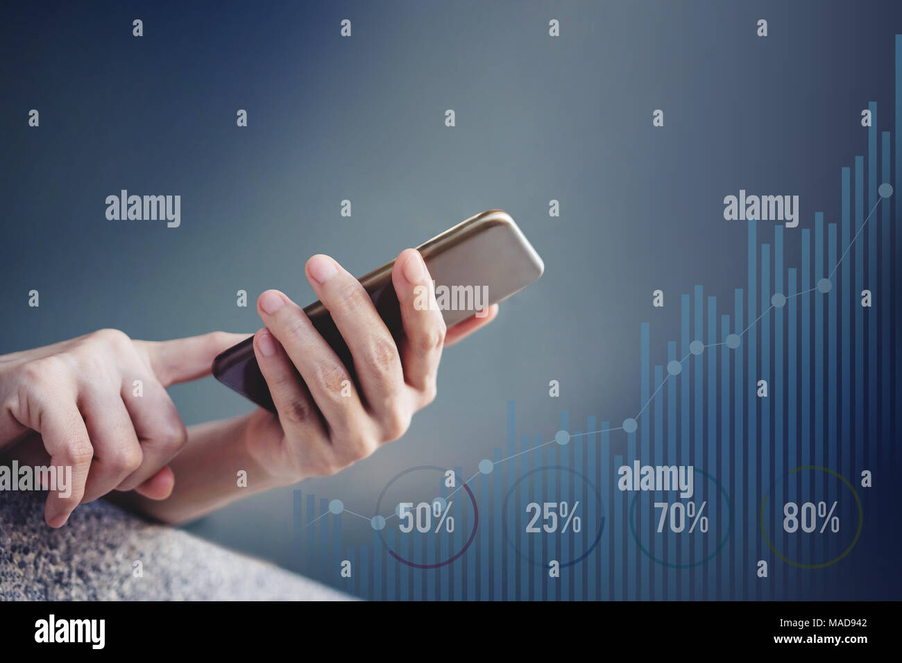 Female using SmartPhone to Check and Work with unspecified Graph in Daily Life. Rare view with Copy Space - Stock Image