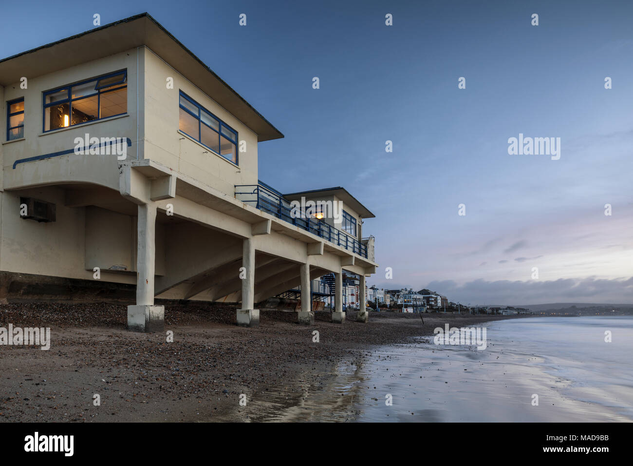 The art deco Pier Bandstand, Weymouth beach and seafront Promenade, Weymouth, Dorset, England, UK - Stock Image