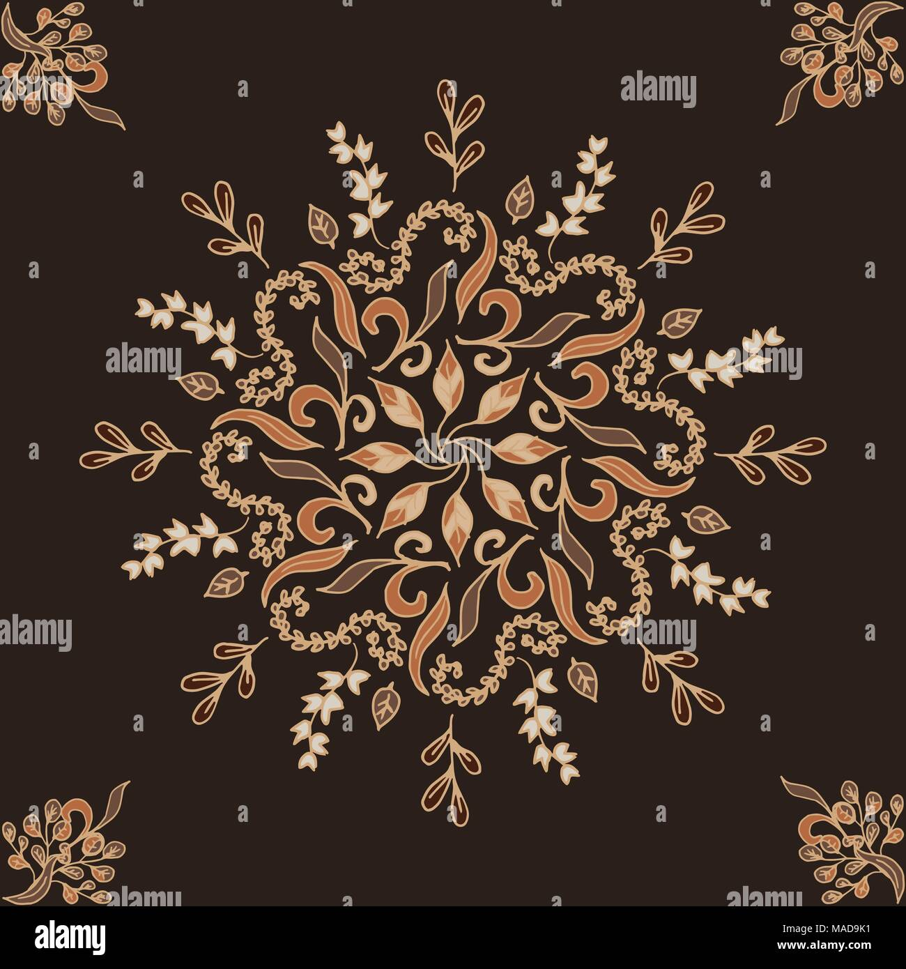 Elegant vector ornament. circular floral pattern brown. Abstract traditional pattern with oriental elements - Stock Image