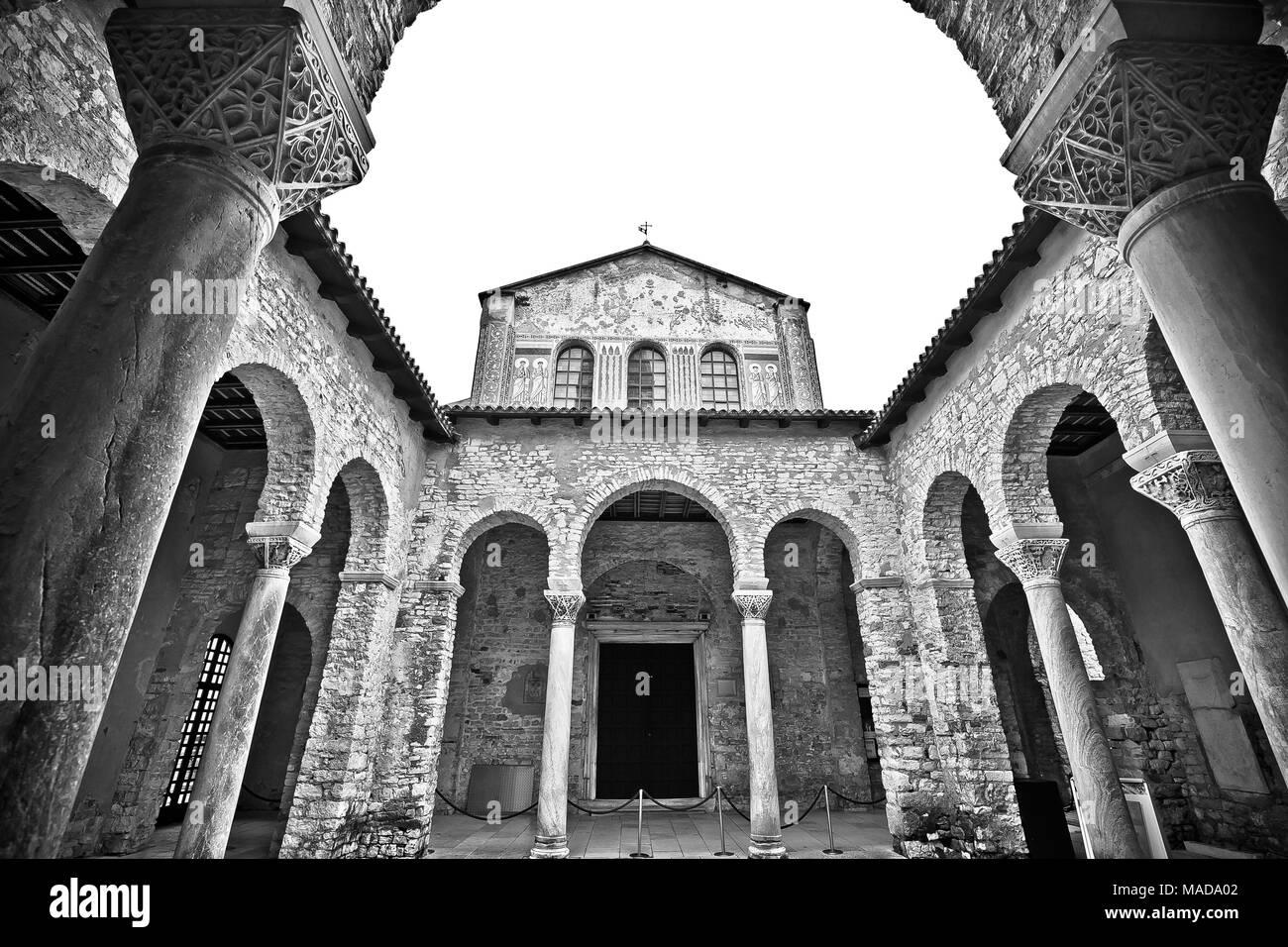 Euphrasian Basilica in Porec arcades black and white view, UNESCO world heritage site in Istria, Croatia - Stock Image