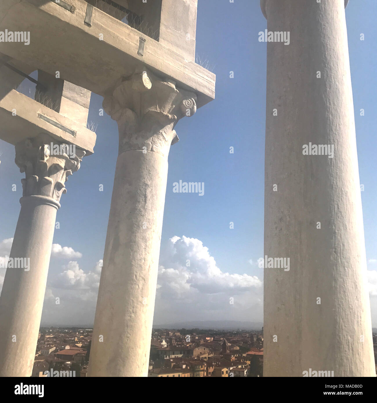 View from the top of the Leaning Tower of Pisa Stock Photo