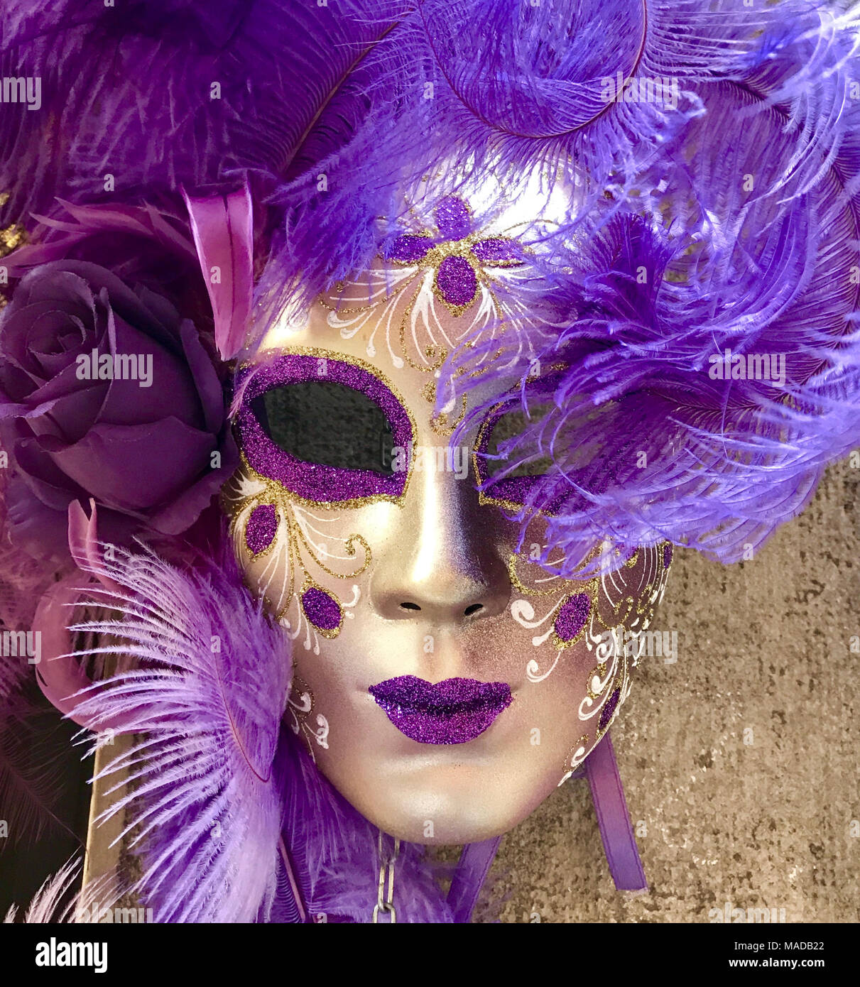 a19c5979d294 Masquerade Mask in Purple and Gold. Traditional Venetian Costume. Square  image.