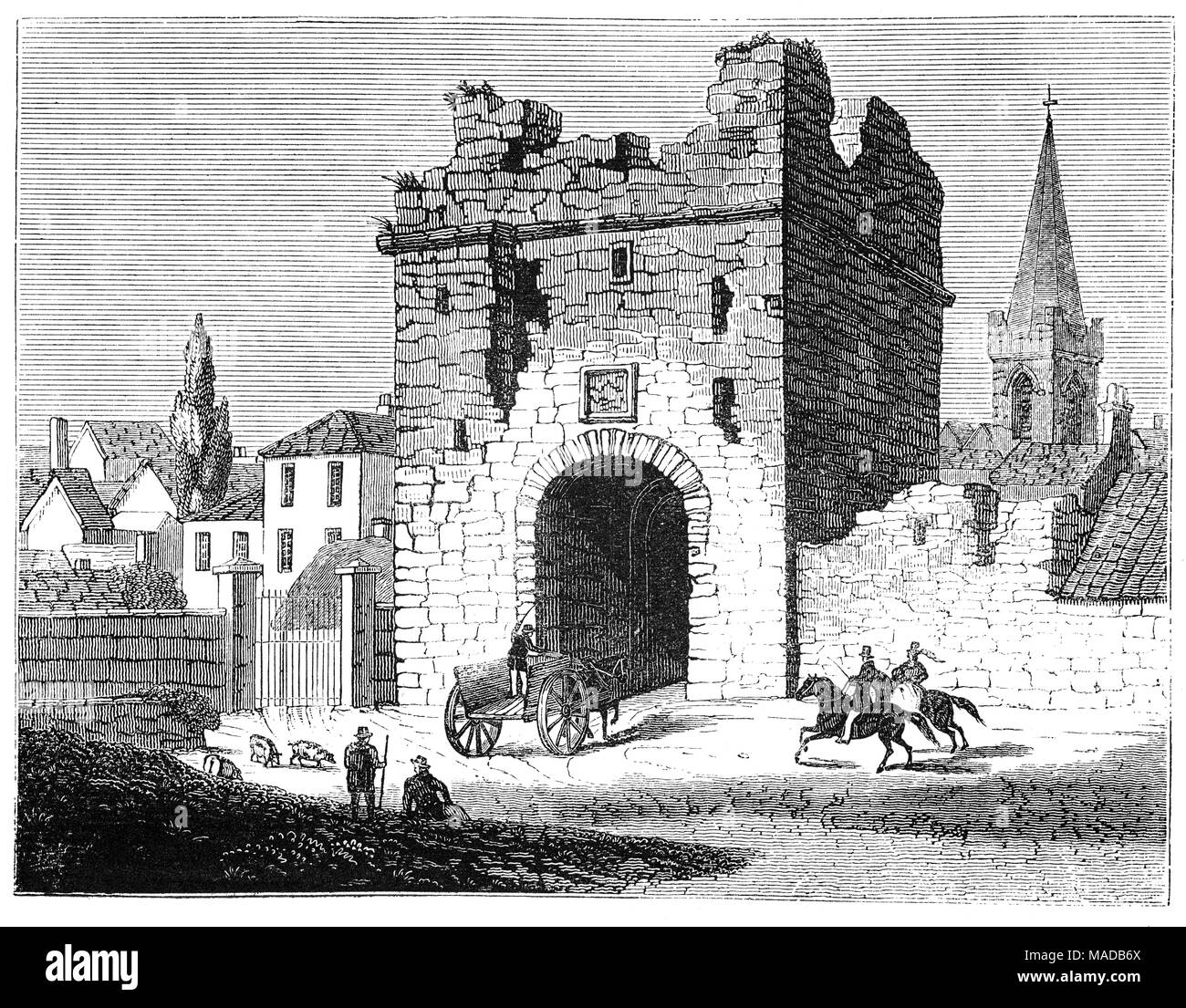 The sixteenth century North Gate (now demolished)  which formed part of the Town Walls of Athlone. The town  owes much to the location of a strategic ford (river crossing point) on the River Shannon. It straddles the border between County Westmeath and County Roscommon, Ireland. - Stock Image
