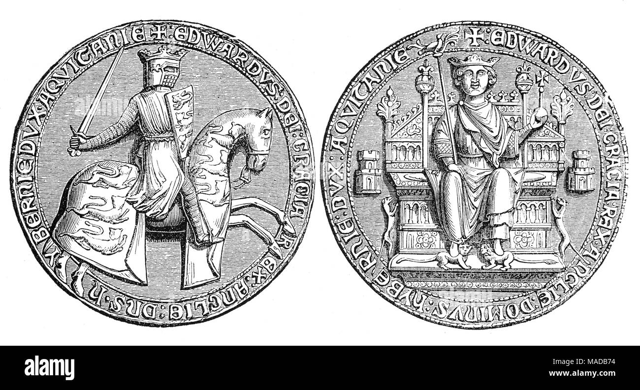The Great Seal of King Edward II (1284 – 1327), King of England from 1307 until he was deposed in January 1327. The fourth son of Edward I, he succeeded to the throne in 1307, following his father's death. In 1308, he married Isabella of France, the daughter of the powerful King Philip IV, as part of a long-running effort to resolve the tensions between the English and French crowns. - Stock Image
