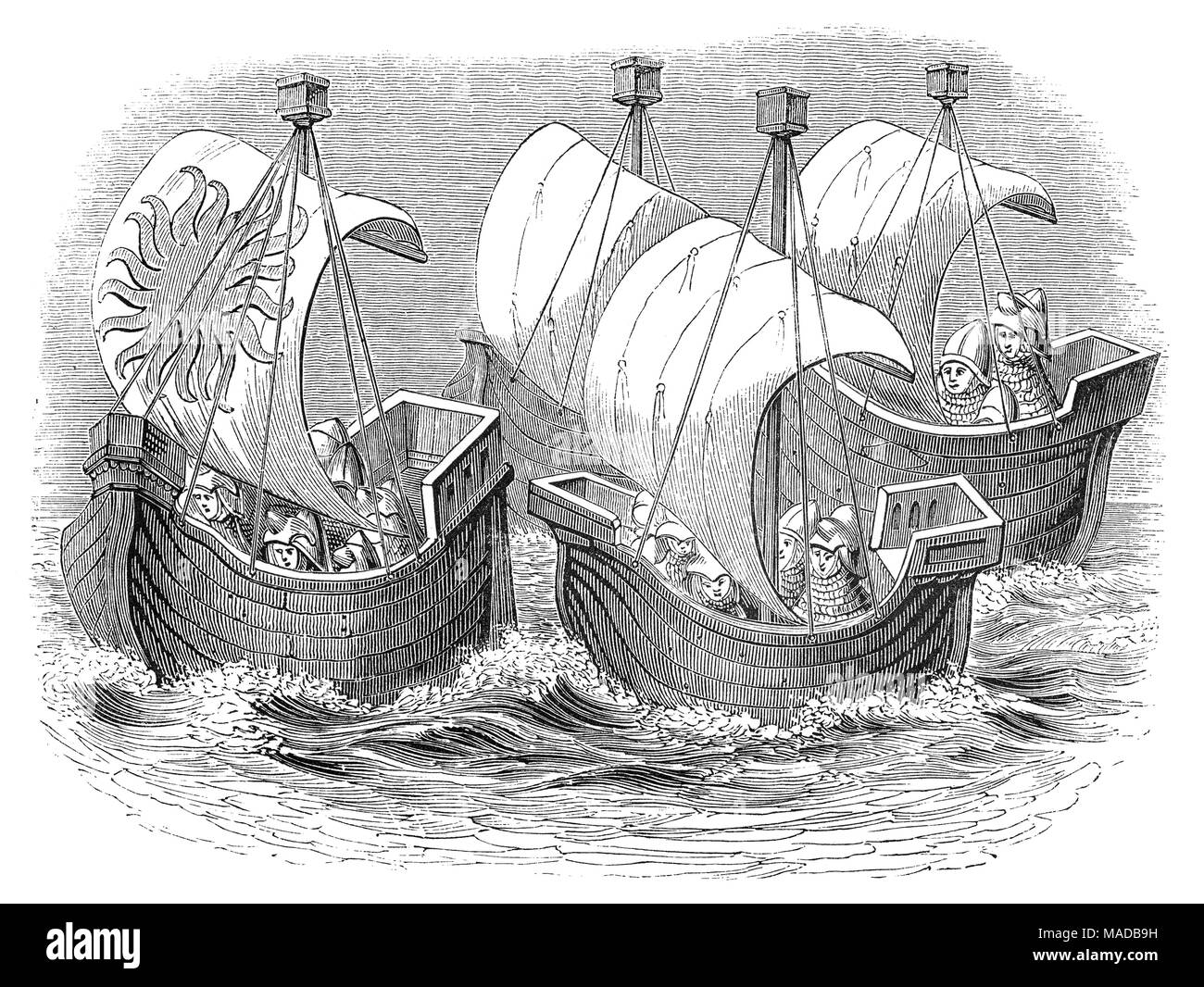 Seagoing ships at the time of King Richard II. He was  King of England from 1377 until he was deposed on 30 September 1399. Richard, a son of Edward the Black Prince, was born in Bordeaux during the reign of his grandfather, Edward III. - Stock Image