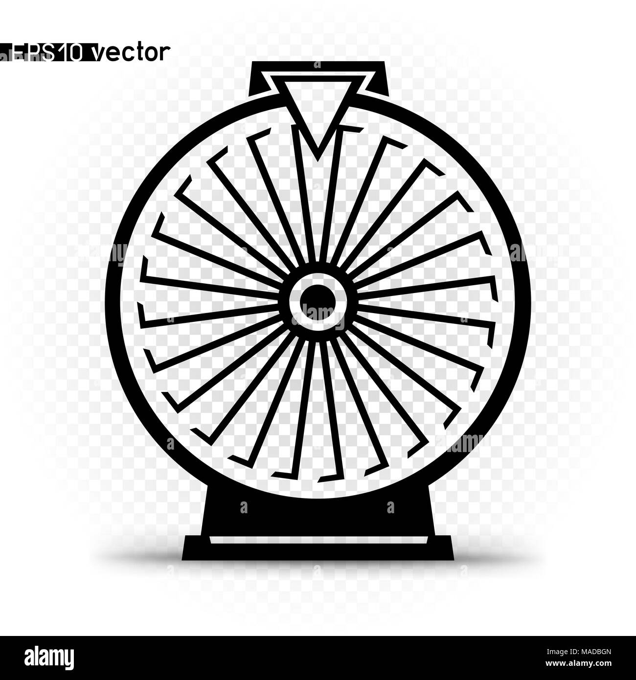 Fortune wheel icon symbol. Gamble twenty four lottery prize spin space object silhouette with shadow - Stock Image