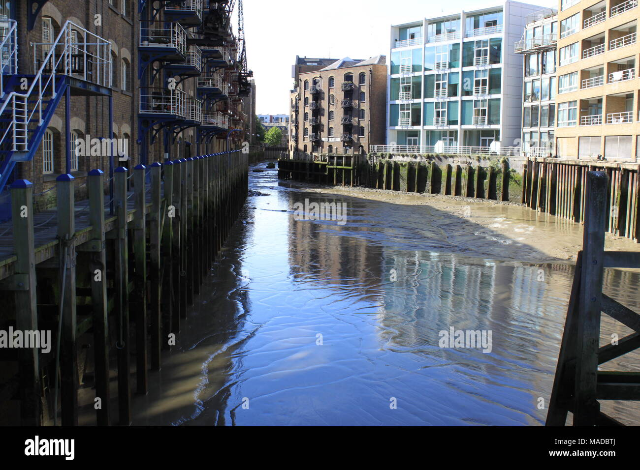 View down St Saviours Dock at the mouth of the River Neckinger (which flows into the Thames), London, UK, PETER GRANT - Stock Image