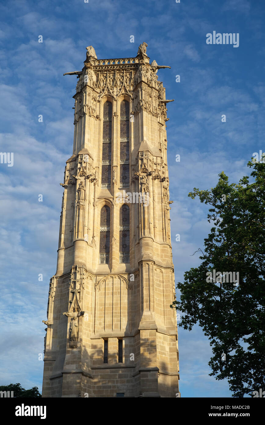 The Tour Saint-Jacques is all that remains of the Church of St-Jacques-de-la-Boucherie. It was a traditional starting point for French pilgrims embark - Stock Image