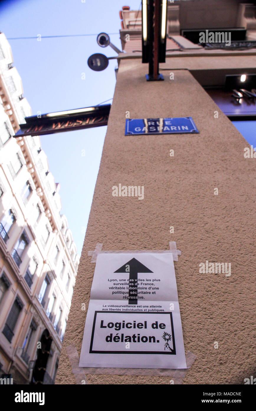 Urban security cameras, Lyon, France - Stock Image