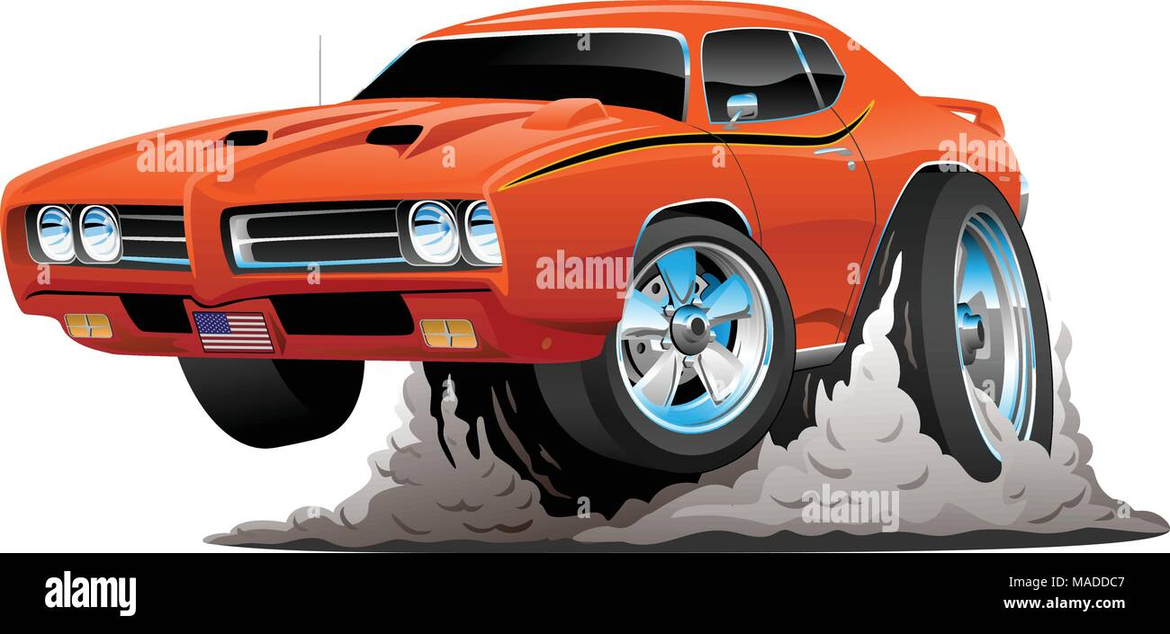 Classic American Muscle Car Cartoon Vector Illustration Stock Vector ...