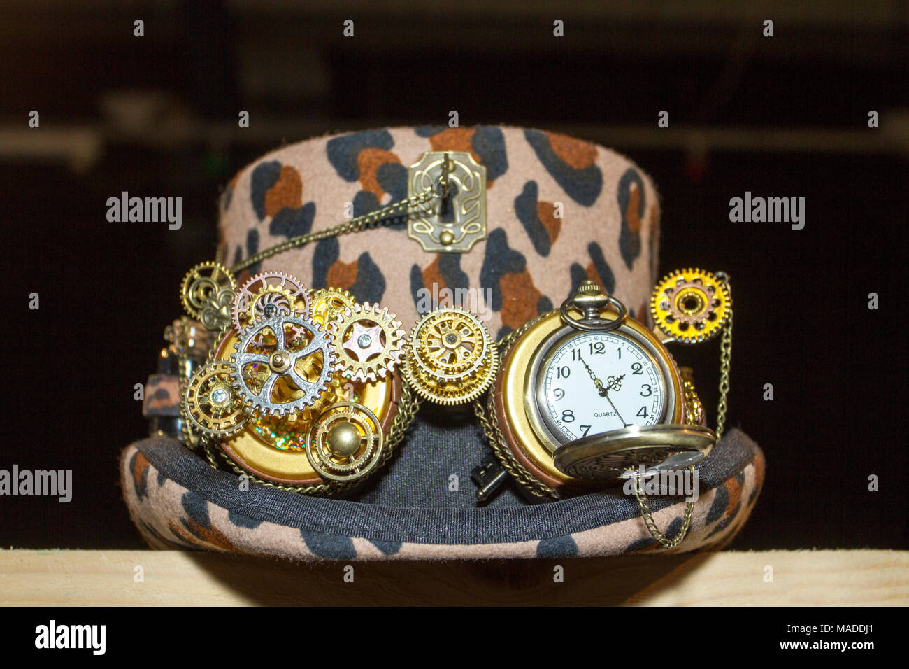 steampunk sub culture post apocalypse apocalyptic spyglas goth crossover machine machinery costume fancy dress up gothic mechanism futuristic clock - Stock Image
