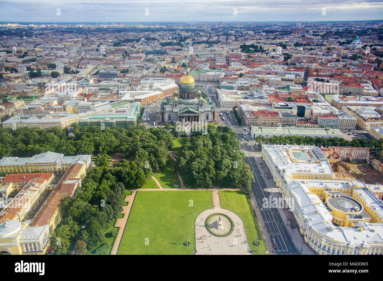 Bird's eye view of Saint-Isaac Cathedral, Alexander garden and Peter the Great monument in Saint-Petersburg, Russia - Stock Image