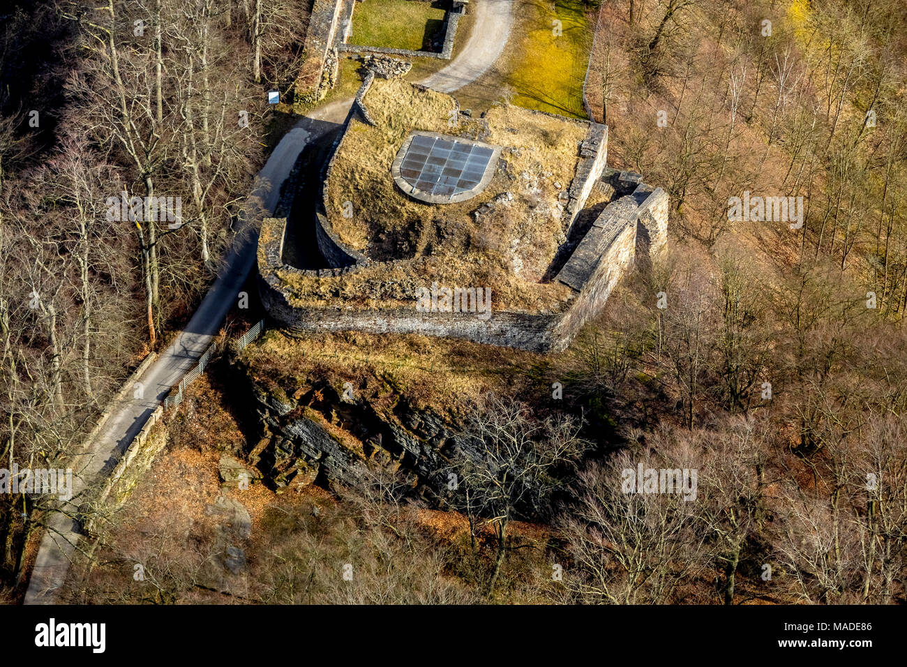 Castle Isenburg, Isenhügel, ASSOCIATION FOR THE CONSERVATION OF ISENBURG EV in Hattingen-Niederwenigern in North Rhine-Westphalia. Hattingen, Ruhr are - Stock Image