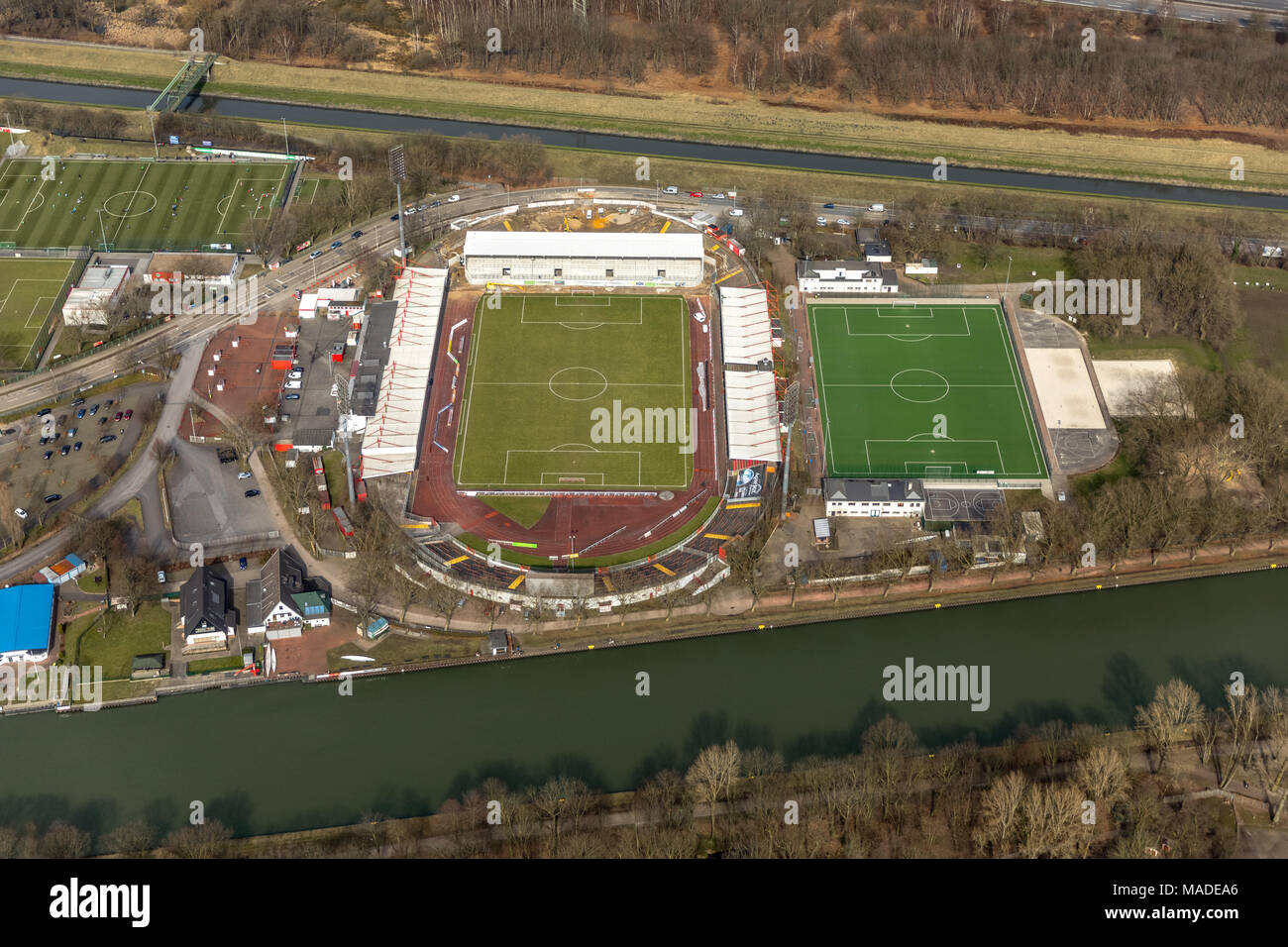 RWO Stadium Niederrhein, Lindnerstraße with new grandstand, in Oberhausen in North Rhine-Westphalia. Oberhausen, Ruhr, Nordrhein-Westfalen, Germany, O - Stock Image