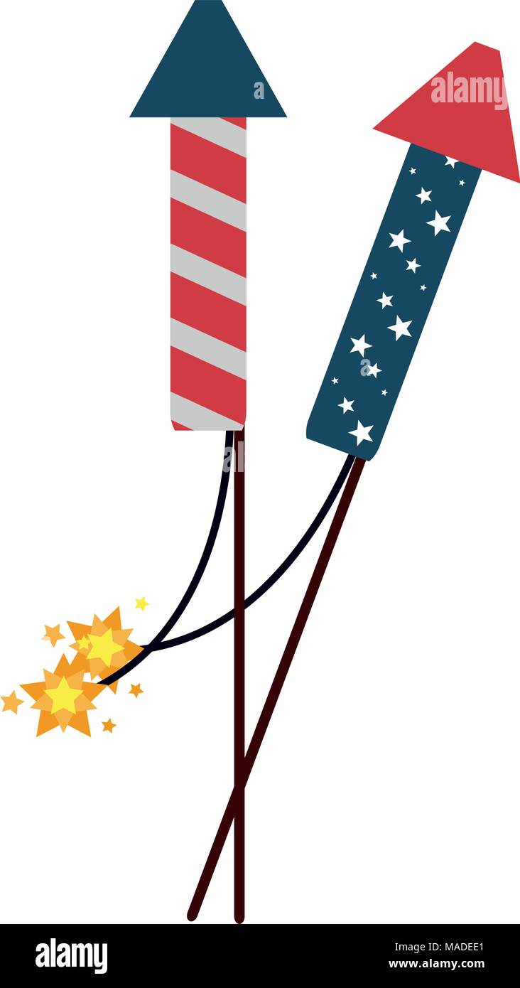 USA fireworks rockets - Stock Image