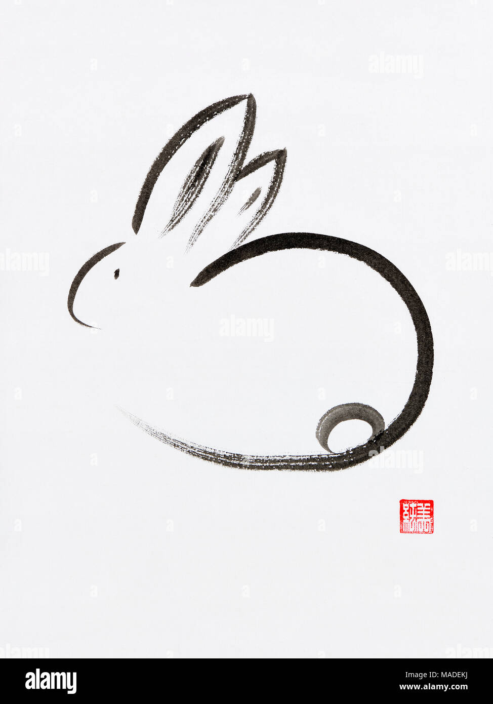 Cute minimalistic bunny artistic oriental style illustration, Japanese Zen Sumi-e ink painting on white rice paper background Stock Photo