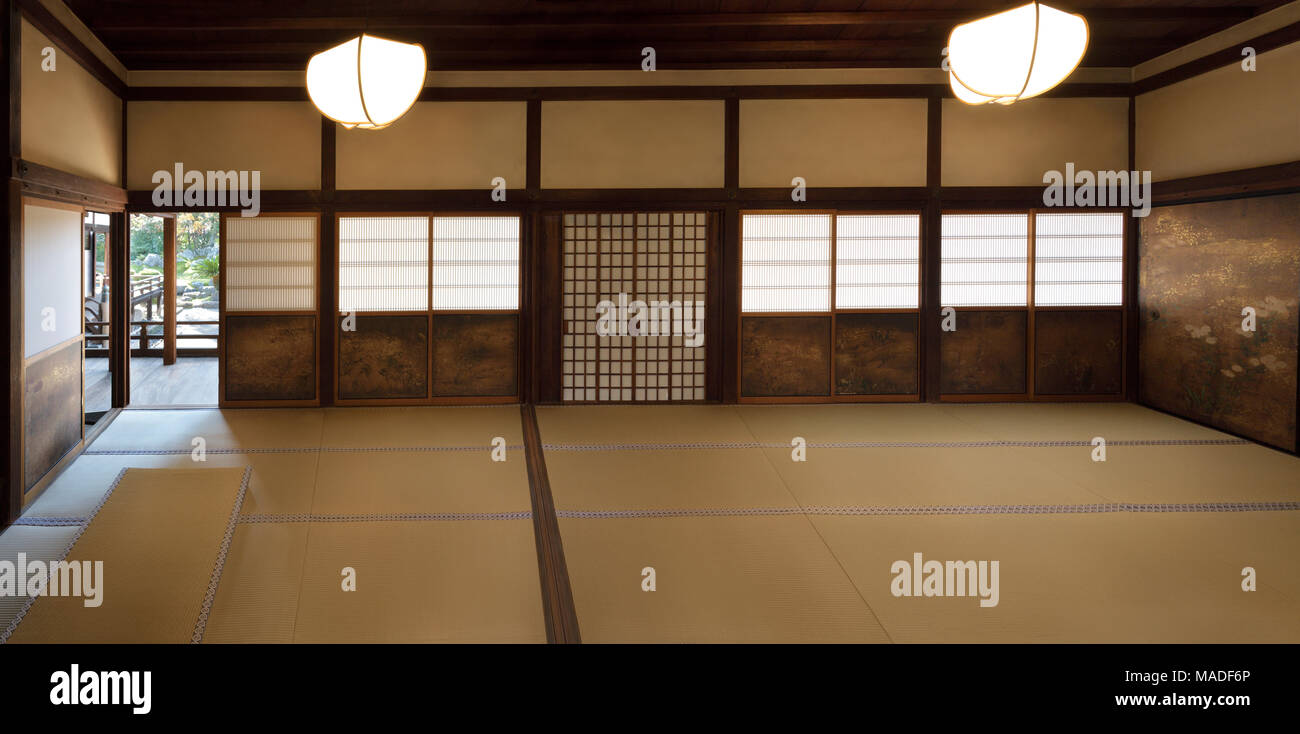 Traditional Japanese interior with tatami mats and painted shoji sliding screens in Sanbo-in, Sanboin Buddhist temple of Daigo-ji complex in Fushimi-k Stock Photo