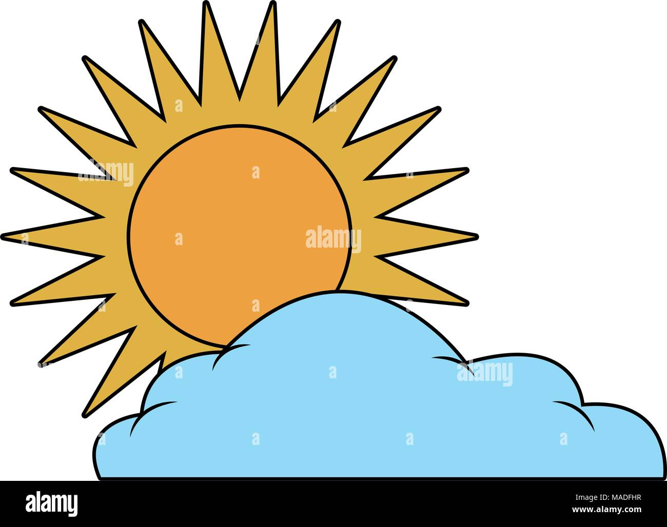 Sun and cloud weather symbol - Stock Vector