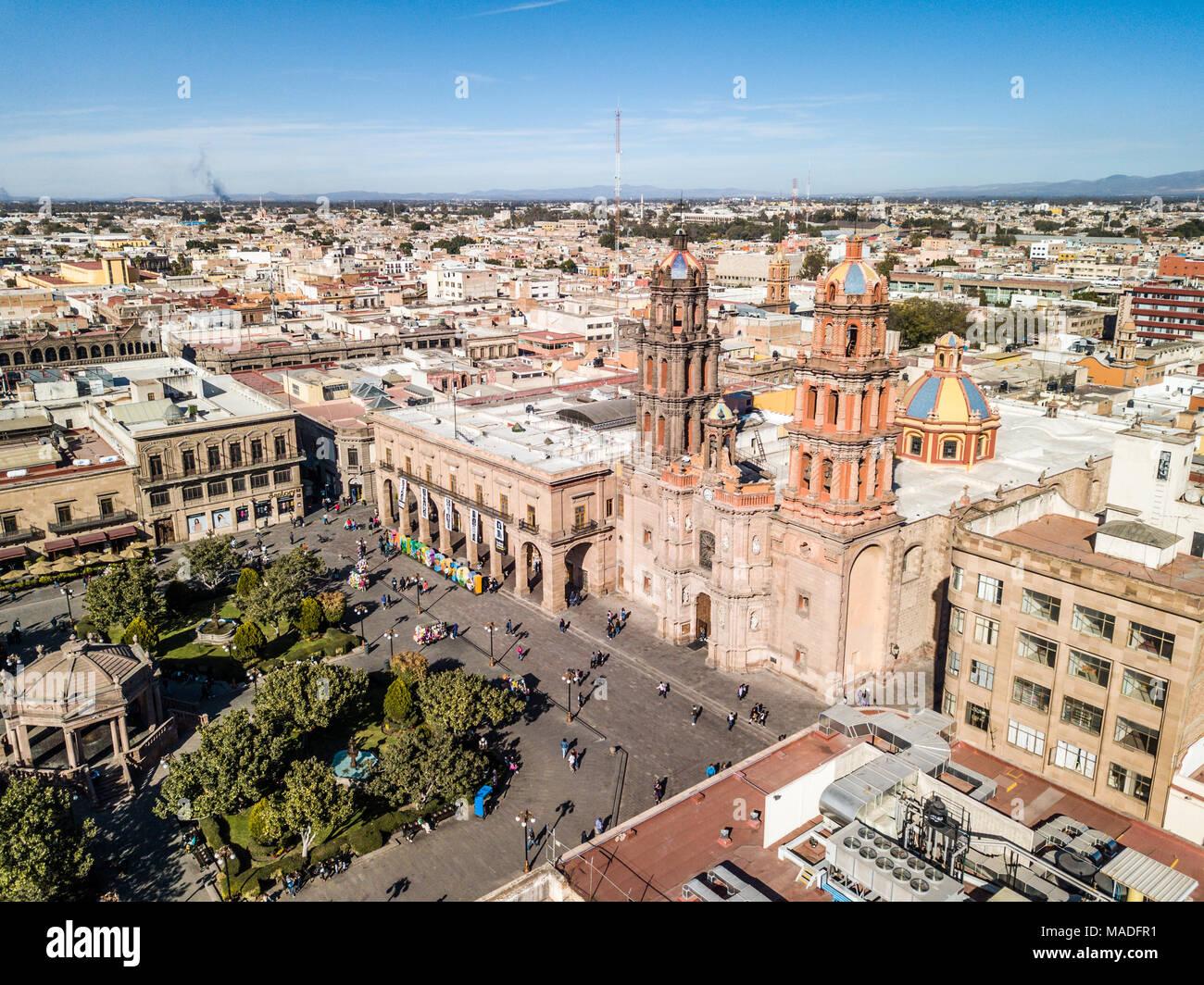Metropolitan Cathedral of San Luis Potosí, Plaza de las Armas, San Luis Potosi, Mexico - Stock Image