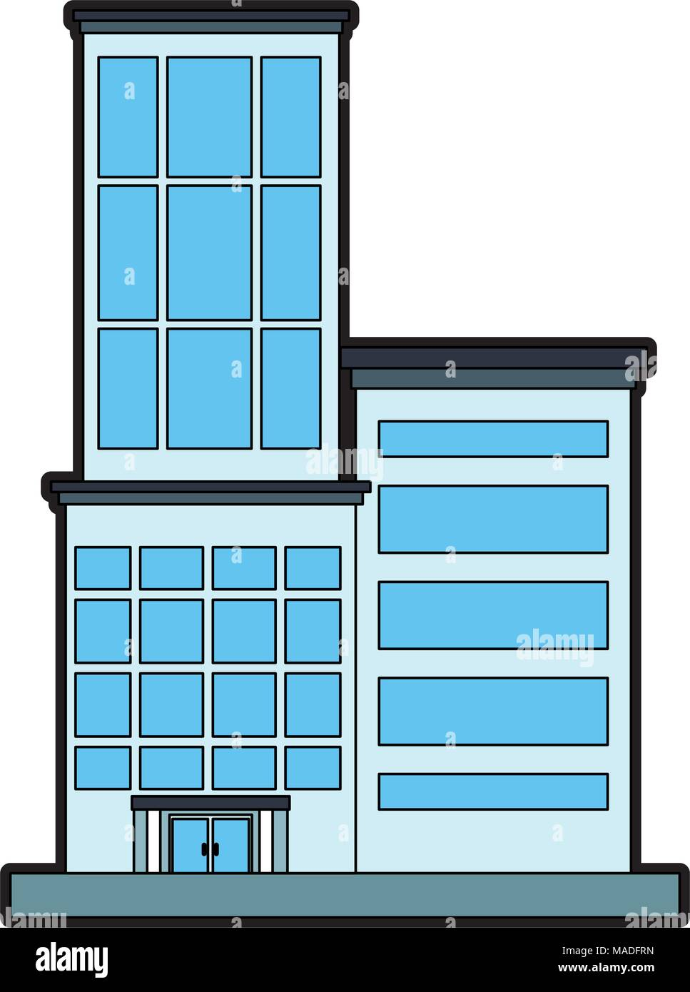 Office Building Cartoon Stock Vector Art Illustration Vector