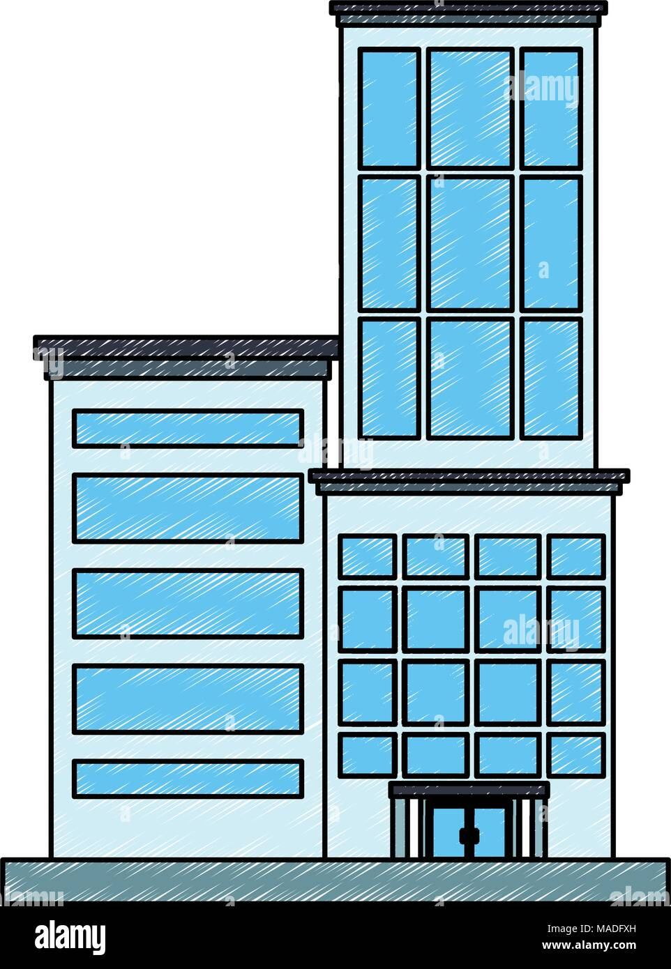 Illustration Cartoon City Downtown Office Stock Vector Images Alamy