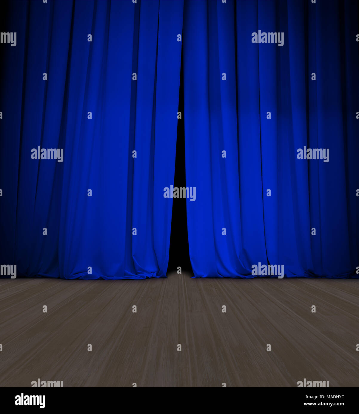 theater blue curtain slightly open and wood stage or scene - Stock Image