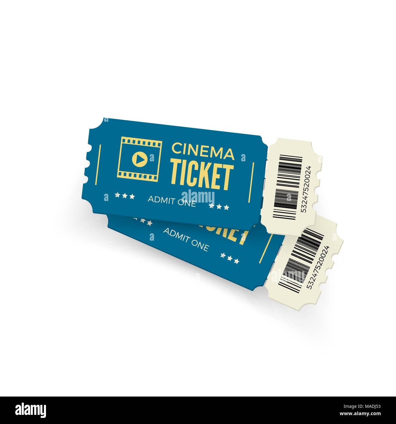 movie ticket blue cinema tickets isolated on white background
