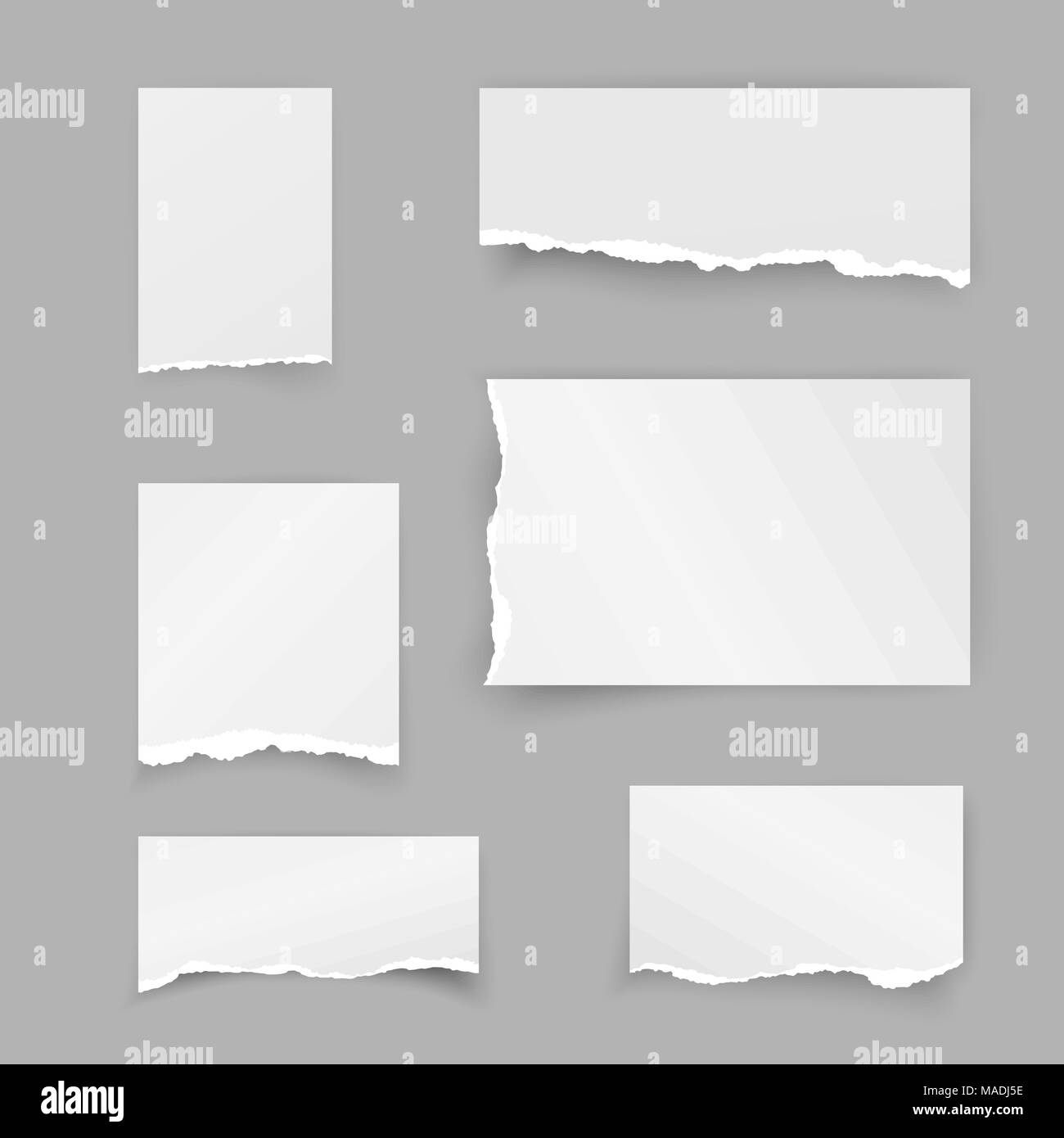Set of torn paper pieces. Scrap paper. Object strip with shadow isolated on gray background. Vector illustration - Stock Vector