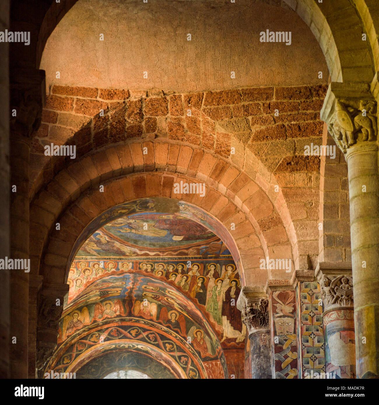 Frescoes. Basilica Saint Julien. Brioude. Auvergne. France - Stock Image