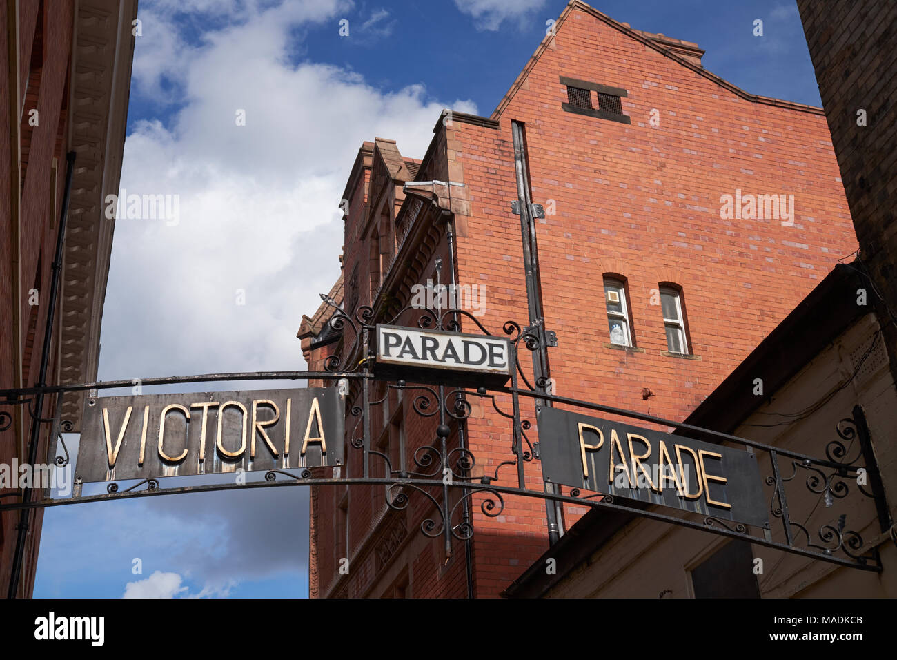 Sign for the Victoria Parade shopping area, Leicester, Leicestershire, UK. - Stock Image