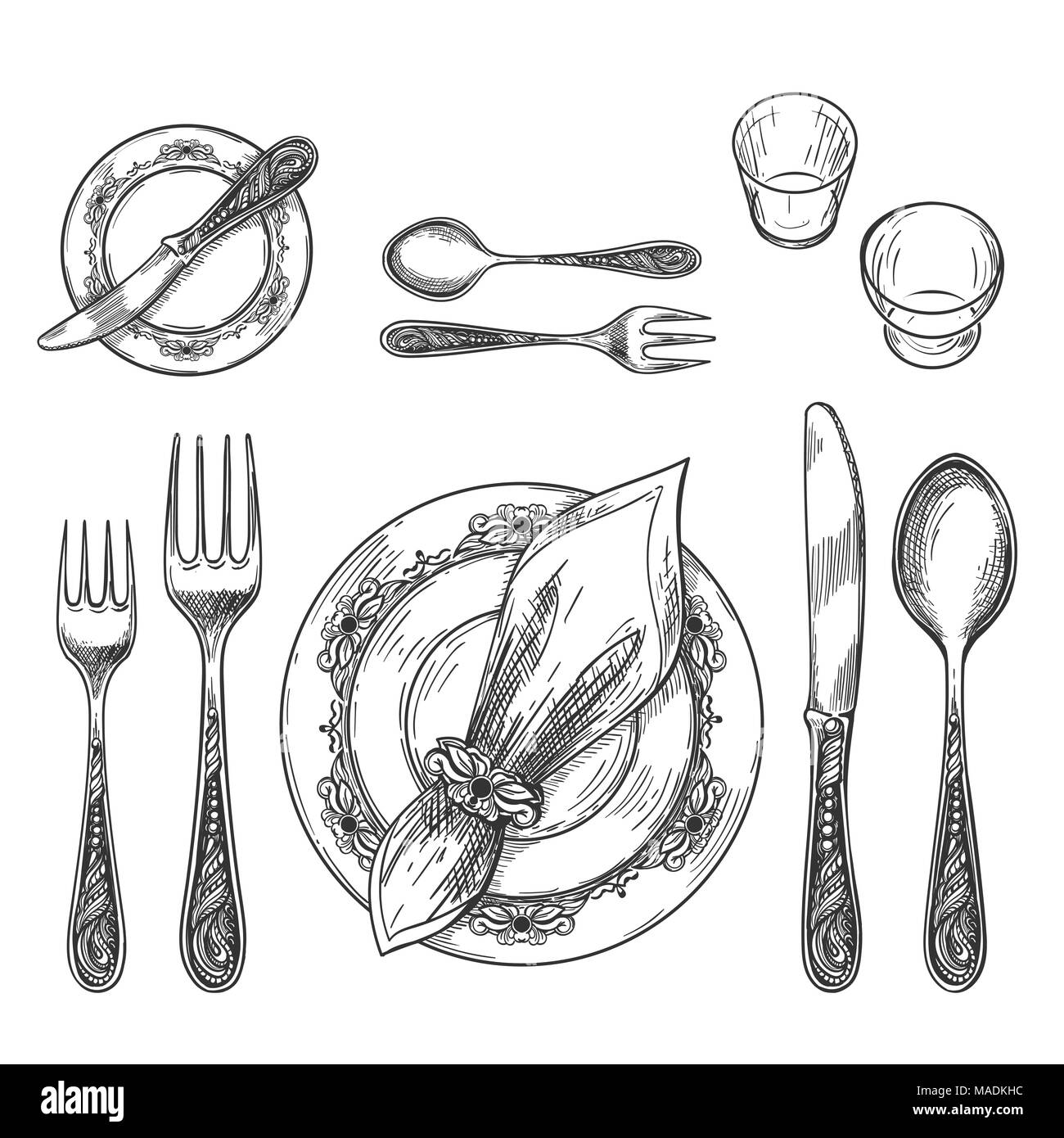 Table setting drawing. Hand drawing dinnerware with napkin in ring ...