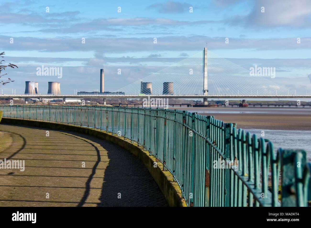 New Runcorn road bridge over the river Mersey. The Mersey Gateway - Stock Image