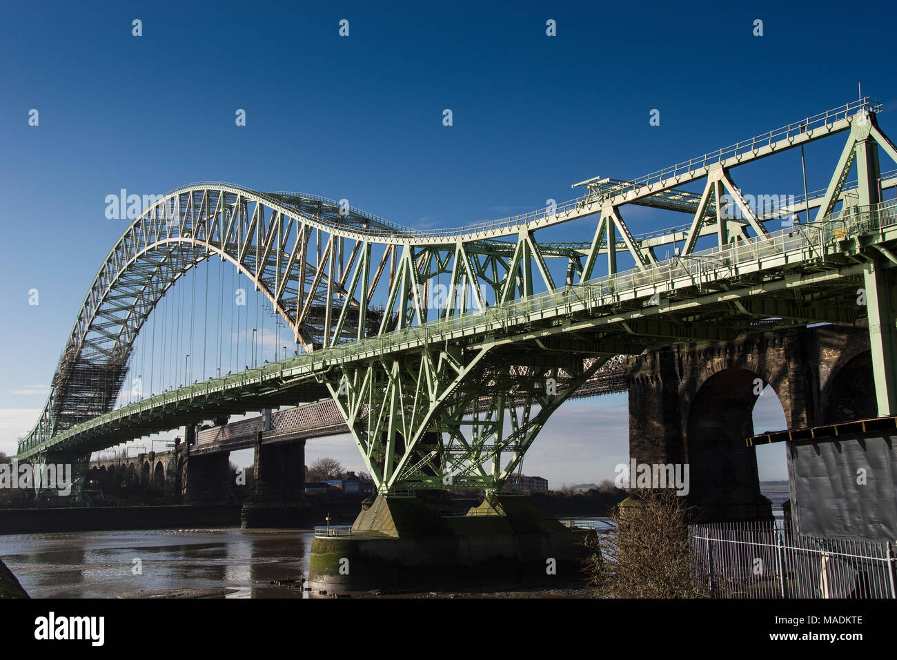 Runcorn old bridge over the river Mersey - Stock Image