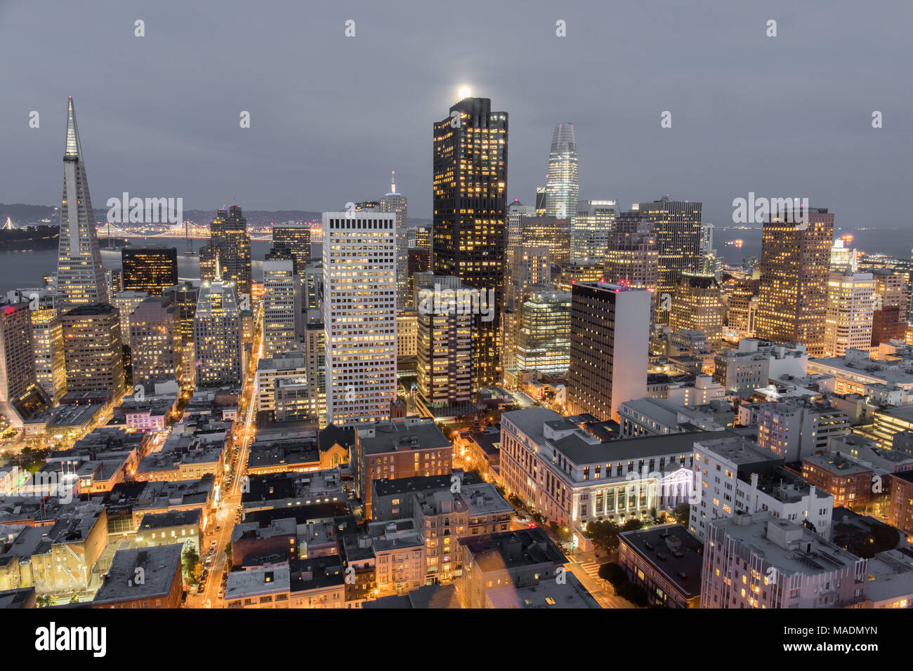 Moonshine over San Francisco Downtown. - Stock Image