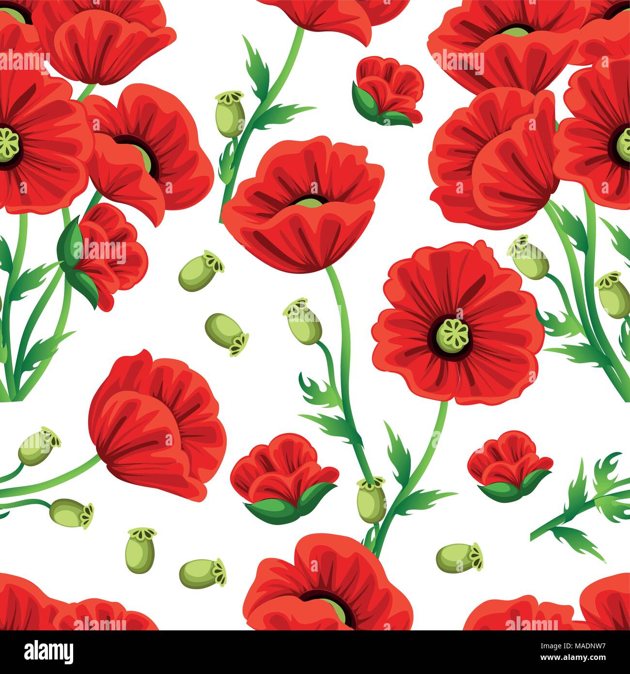Seamless Pattern Red Poppy Flower With Green Leaves Vector