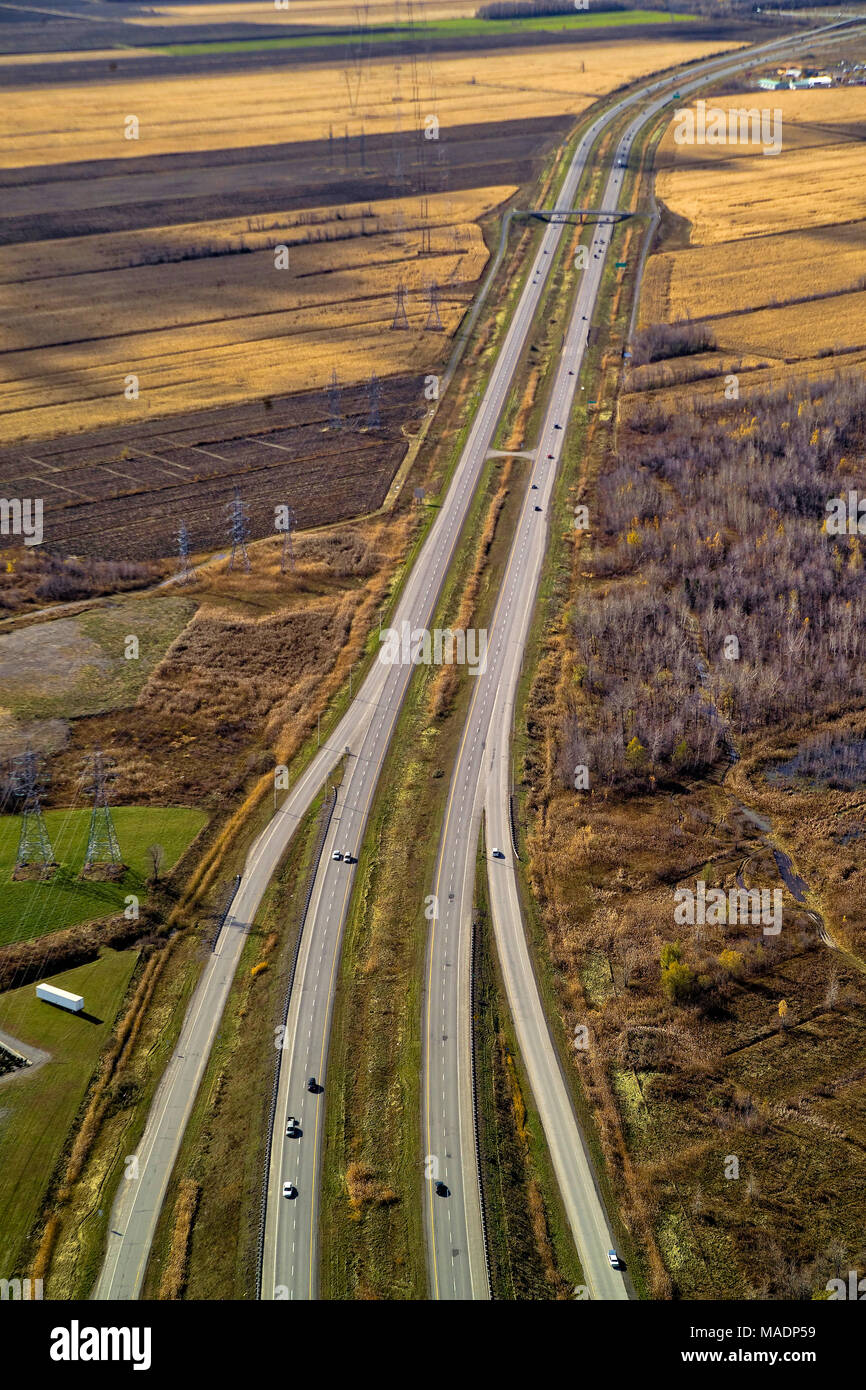 Aerial view of a highways, overpasses, ramps in the Montreal suburban area , Quebec, Canada - Stock Image