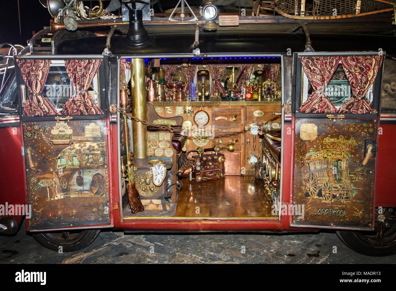 steampunk sub culture post apocalypse apocalyptic spyglas goth crossover machine machinery costume fancy dress up gothic mechanism futuristic clock - Stock Image