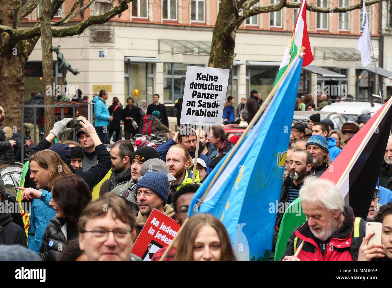 Munich, Germany. 31st Mar, 2018. Some thousand joined the Ostermarsch (easter march) for peace and disarmament. The Ostermarsch is a traditional peace demonstration, which is held yearly in hundreds of German towns. Credit: Alexander Pohl/Pacific Press/Alamy Live News Credit: PACIFIC PRESS/Alamy Live News - Stock Image