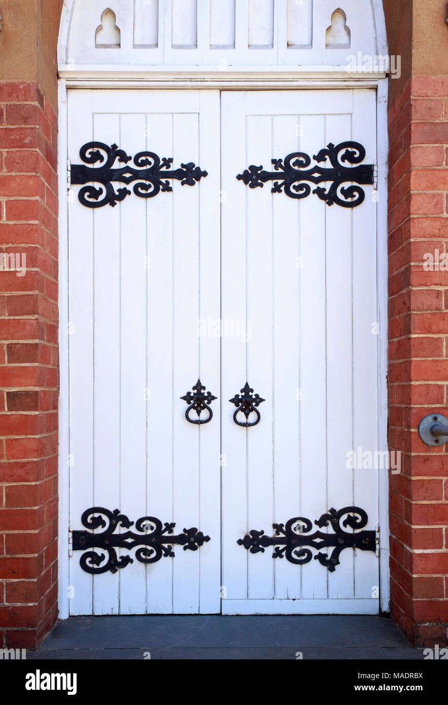 Detail of the door of the St John Uniting Church in Narrandera, New South Wales, Australia - Stock Image