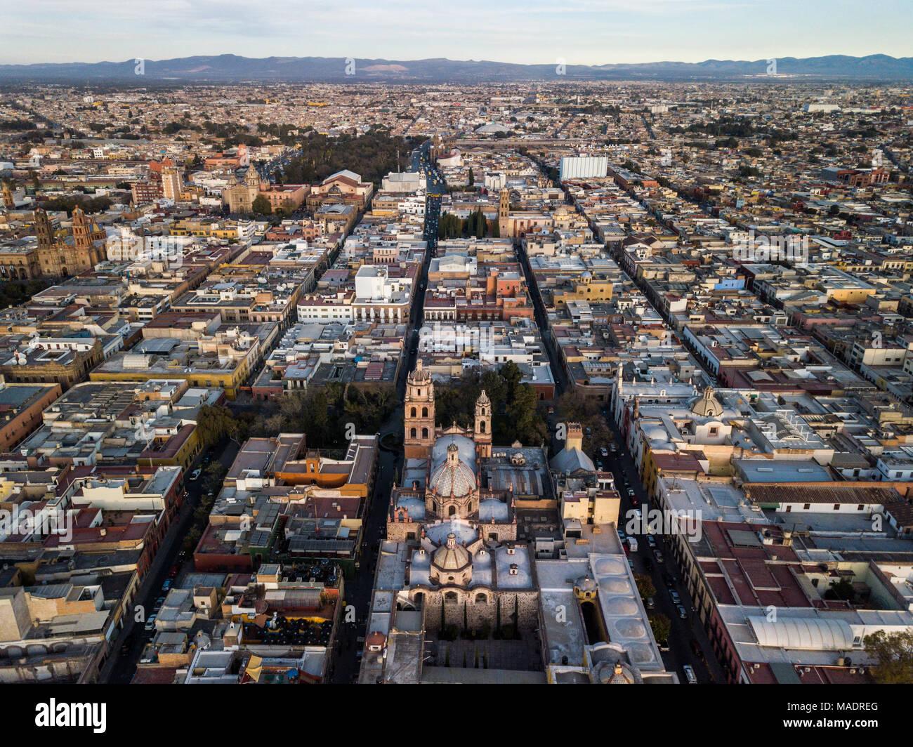 Aerial, San Agustin Church, Templo de San Agustín, San Luis Potosi, Mexico Stock Photo