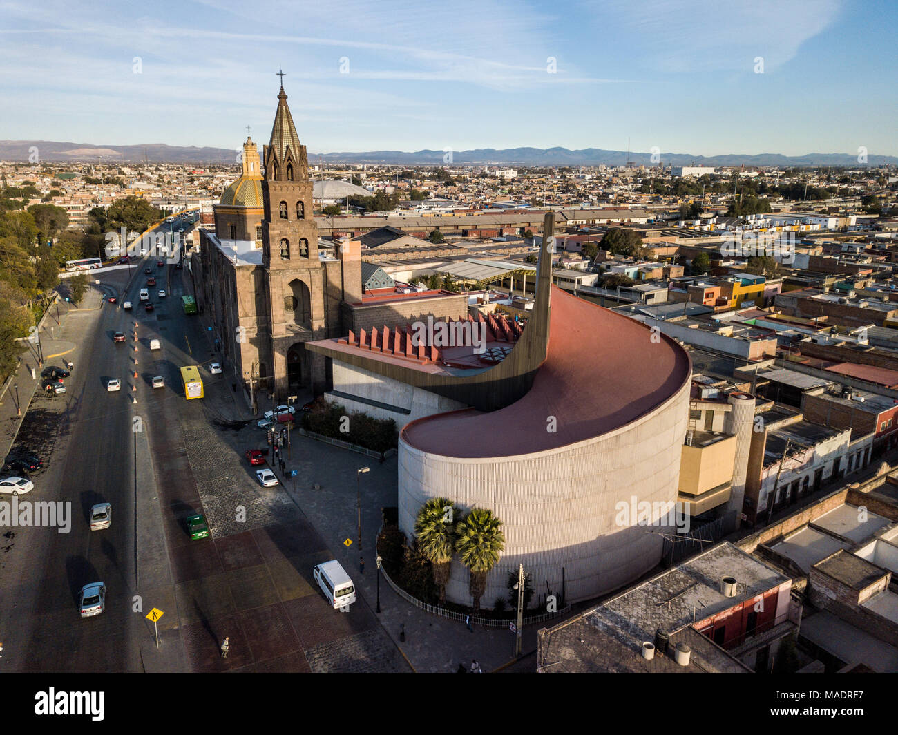 Diffusion Cultural Center of I.P.B.A. Raúl Gamboa and Iglesia de San Jose, San Luis Potosi, Mexico - Stock Image