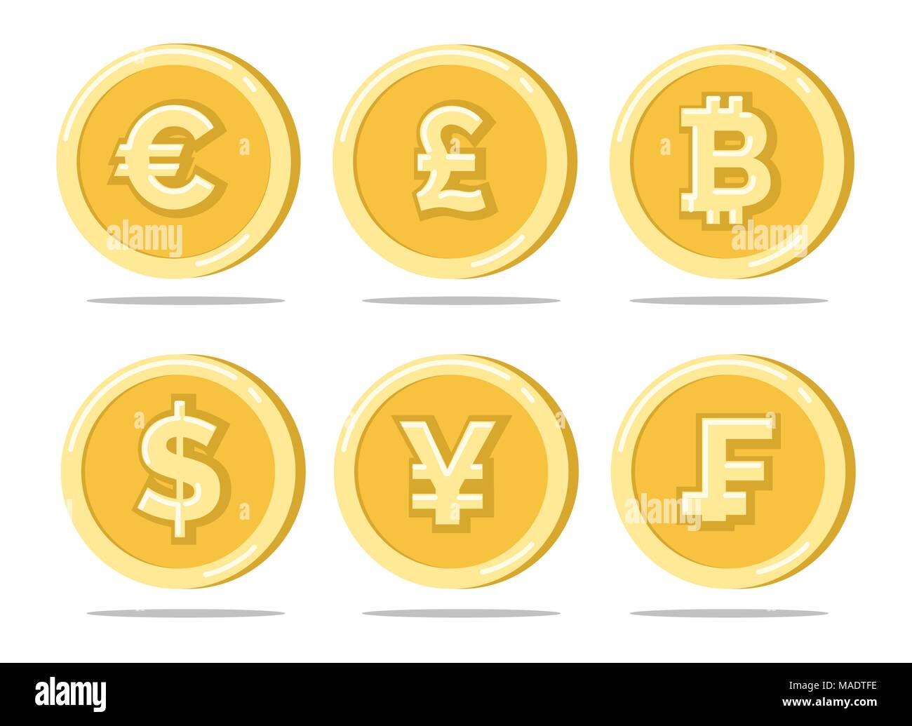 Currency Coins Sterling Pound And Euro Dollar And Japanese Bitcoin