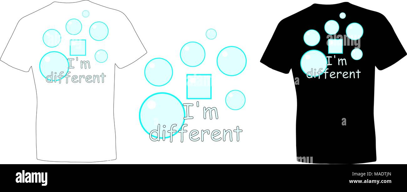 T Shirt Design With Bubbles And The Words I Am Different Minimalist