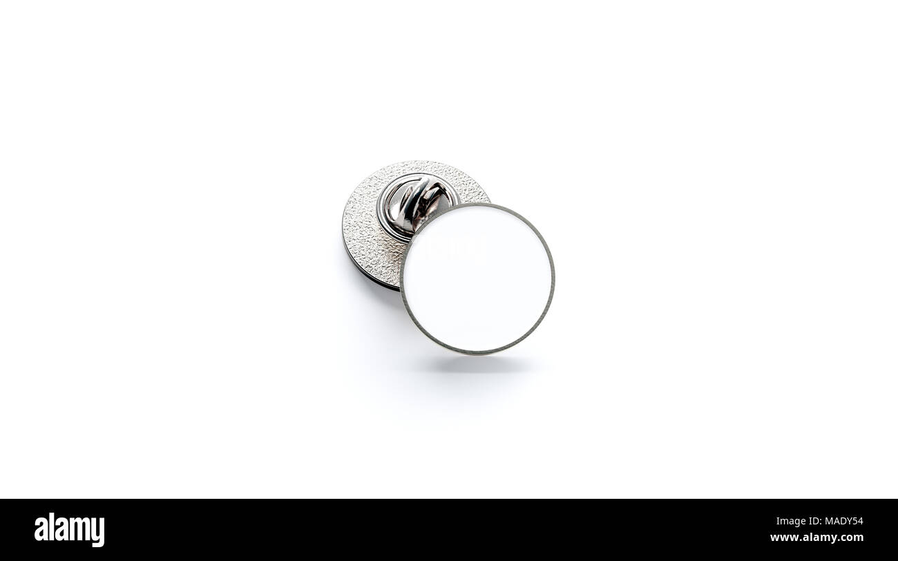Blank White Round Silver Lapel Badge Mockup Stack 3d Rendering Empty Luxury Hard Enamel Pin Clasp Design Template