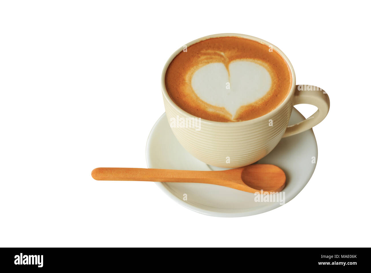Heart shape in hot cappuccino coffee cup isolate on white blackground Stock Photo