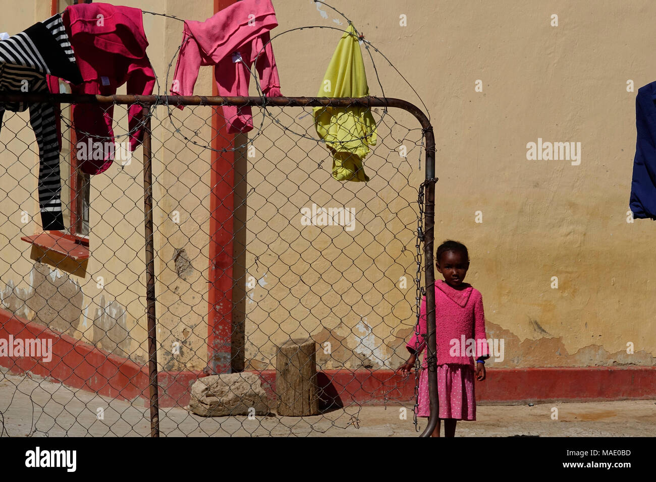 Namibia Windhoek Katutura clothes to dry on the fence - Stock Image