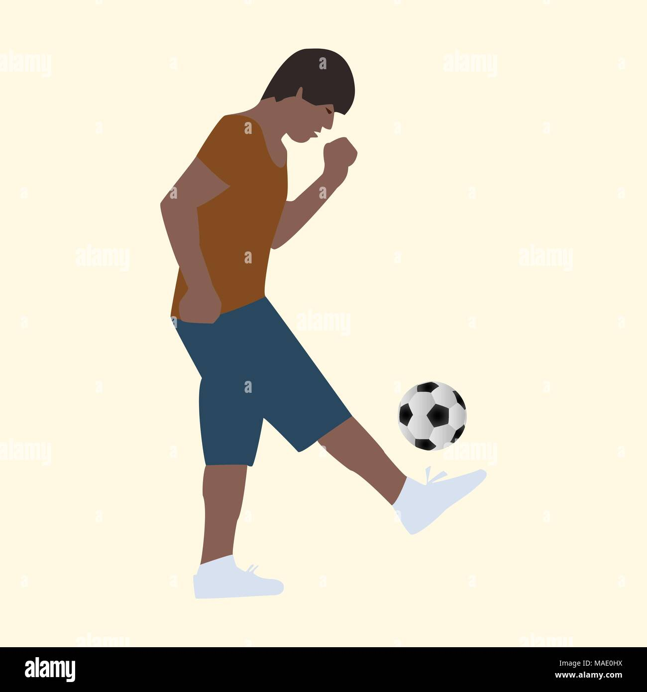 Summer vacation active young man with a soccer ball - Stock Vector