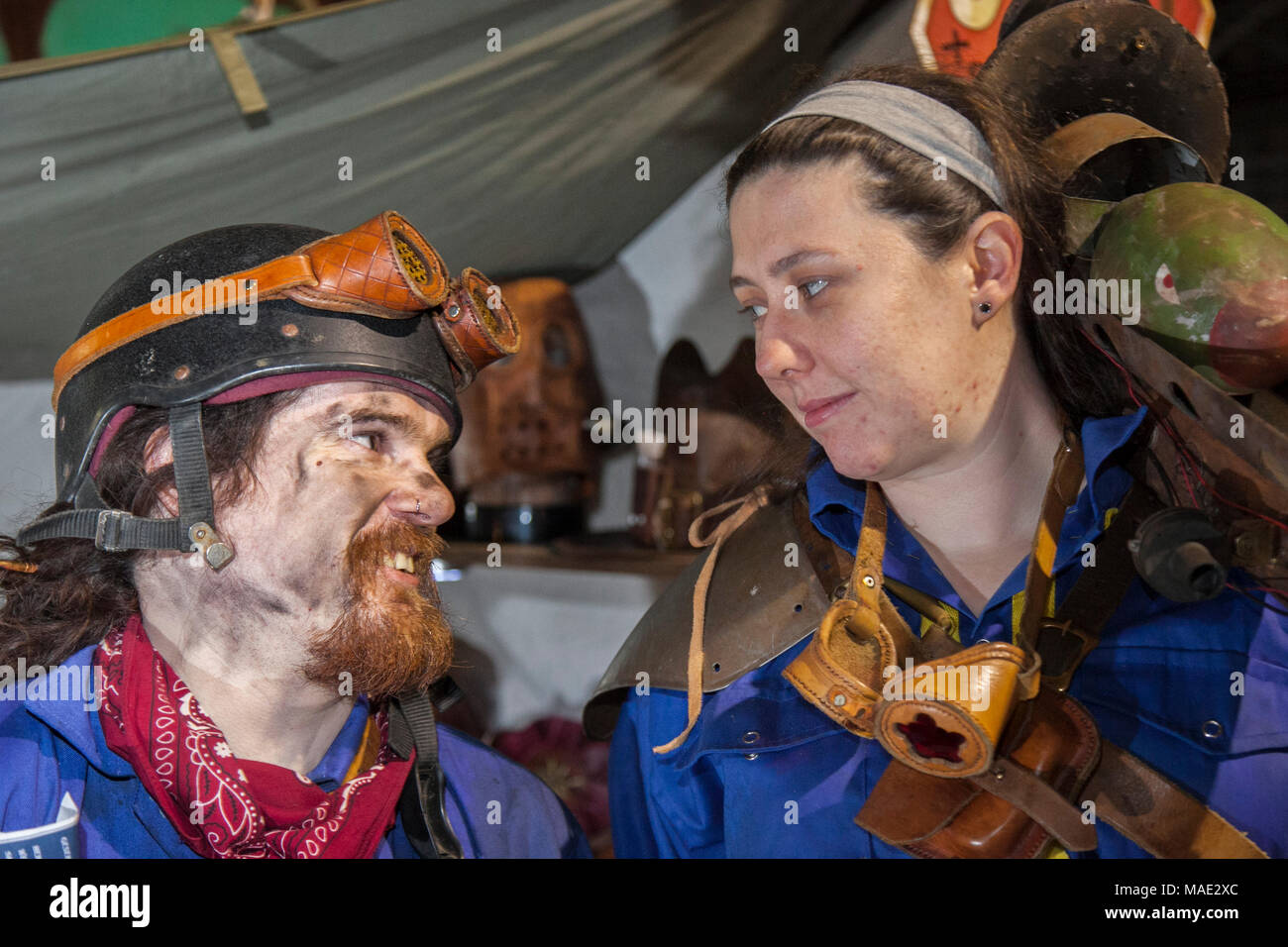 Manchester, UK, 31st March 2018. Post-apocalyptic TimeQuake Steampunk Festival,  Weekend at the Asylum, the Planet's largest steampunk festival where a City becomes Wasteland Costumes Capital for four days. The Victorian Steampunk Society, teamed up with Manchester's Bowlers Exhibition Centre and the organisers of For the Love of Sci Fi to create create a realistic genre, masquerade, fantasy carnival cosplay Expo. Credit: MediaWorldImages/AlamyLiveNews - Stock Image