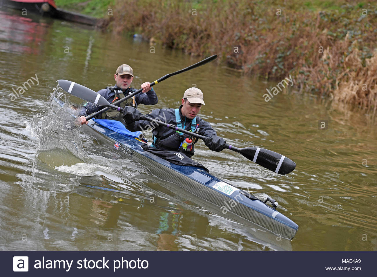 Devizes Wiltshire UK. 31st March 2018.  70th anniversary of the Devizes to Westminster canoe race over the Easter Weekend starting from Devizes Wharf. Credit: Diane Vose/Alamy live news - Stock Image